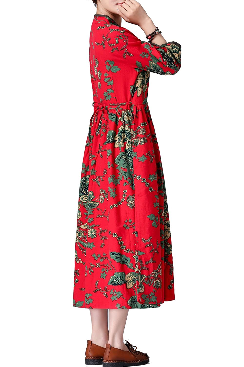 Women's flower dress cotton dress linen maxi dress long dress