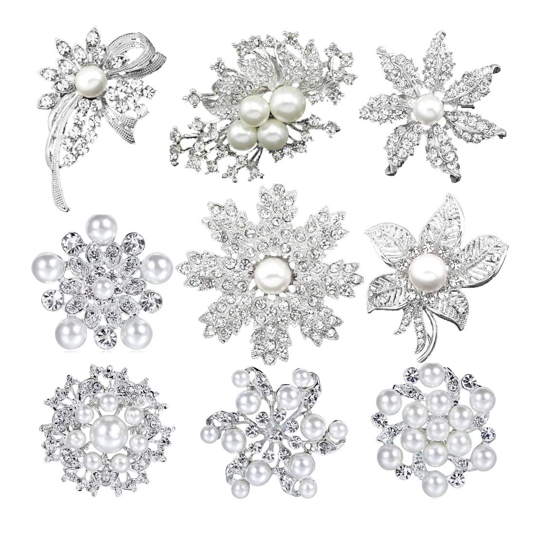 Mutian Fashion Lot 9pc Silver-Tone Faux Pearl Rhinestone Crystal Flower Brooches Pins by Mutian Fashion