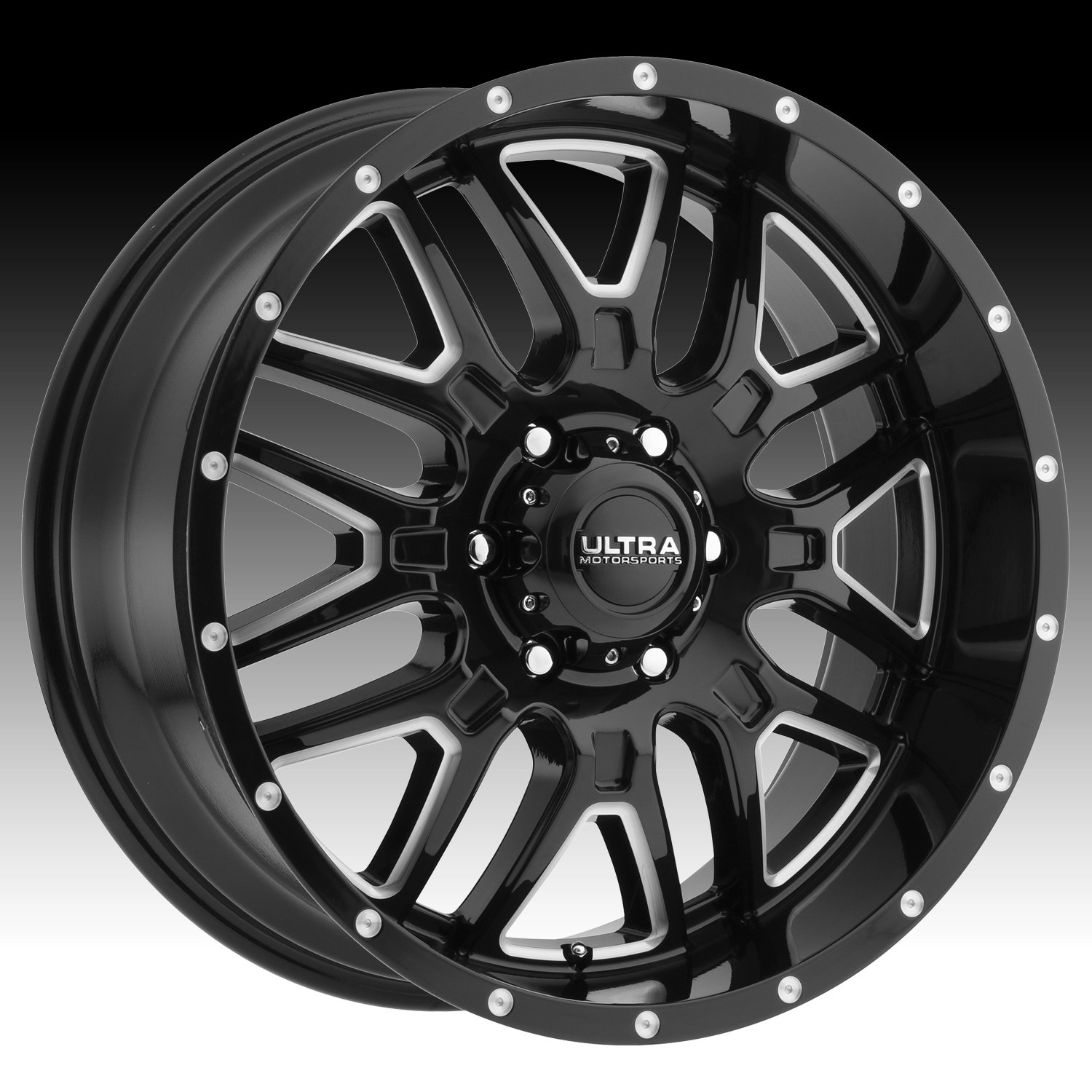 Ultra 203BM Hunter 17x9 6x139.7 +12mm Black/Milled Wheel Rim