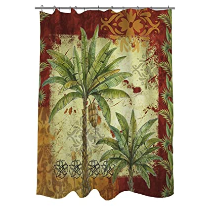 1 Piece Red Tropical Themed Shower Curtain Palm Tree Hawaiian Bathroom Pattern Palms Graphic
