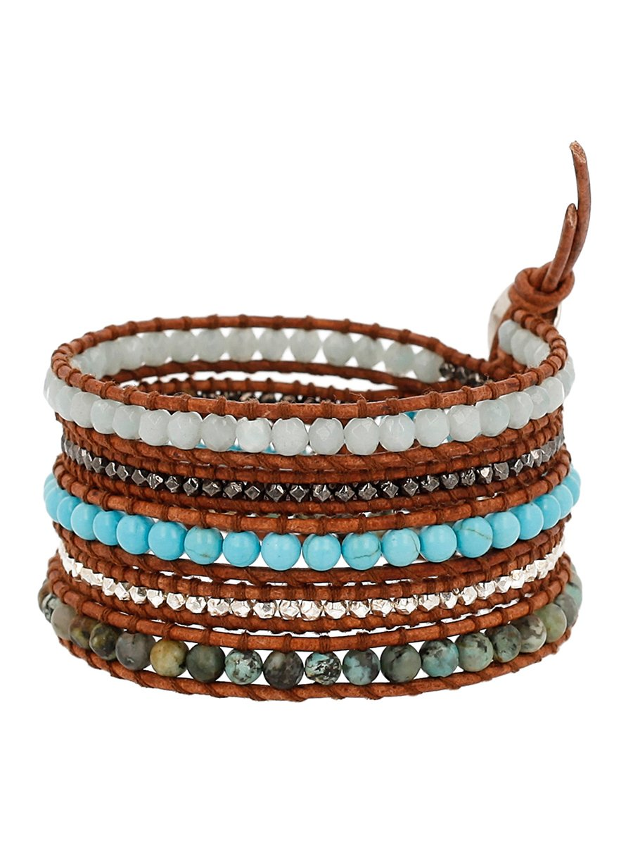 Chan Luu Amazonite Mix of Semi Precious Stones Leather Brown Wrap Bracelet