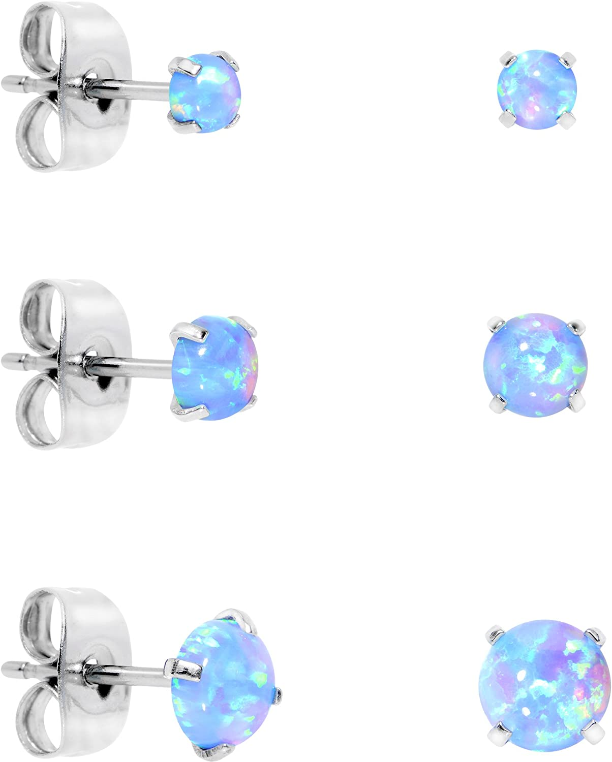 Accessories Fashion for Girls Silver with Heart Color Stud Opal White Earrings