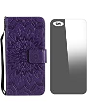 Galaxy J6 Plus 2018 Case, Conber Leather Case with [Free Tempered Glass Screen Protector], Shockproof Vintage Emboss Sun Design Leather Wallet Flip Case Cover for Samsung Galaxy J6 Plus 2018 - Purple