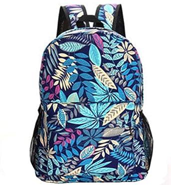 5c1363d925cc MiCoolker Patterned Printed School Bag College Backpack Daypack (Blue  Leaves)