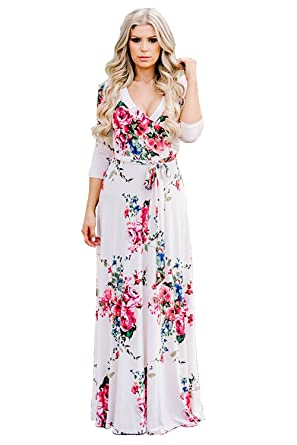 5d68936fec2 TELOMI Women s Summer Floral Prints V-Neck 3 4 Sleeve Tunic Waist Maxi Dress  with Drawstring