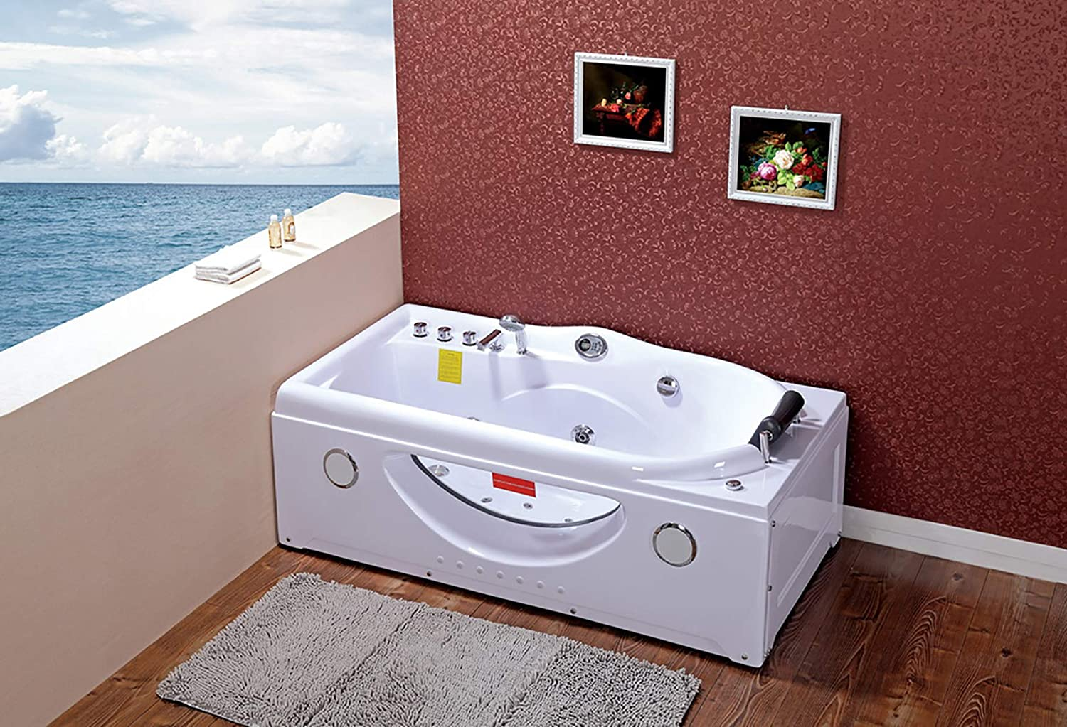 Whirlpool Bath Jacuzzi Massage Jets Shower Double Ended Rectangle Bathtub SPA 168x85 cm jagpol
