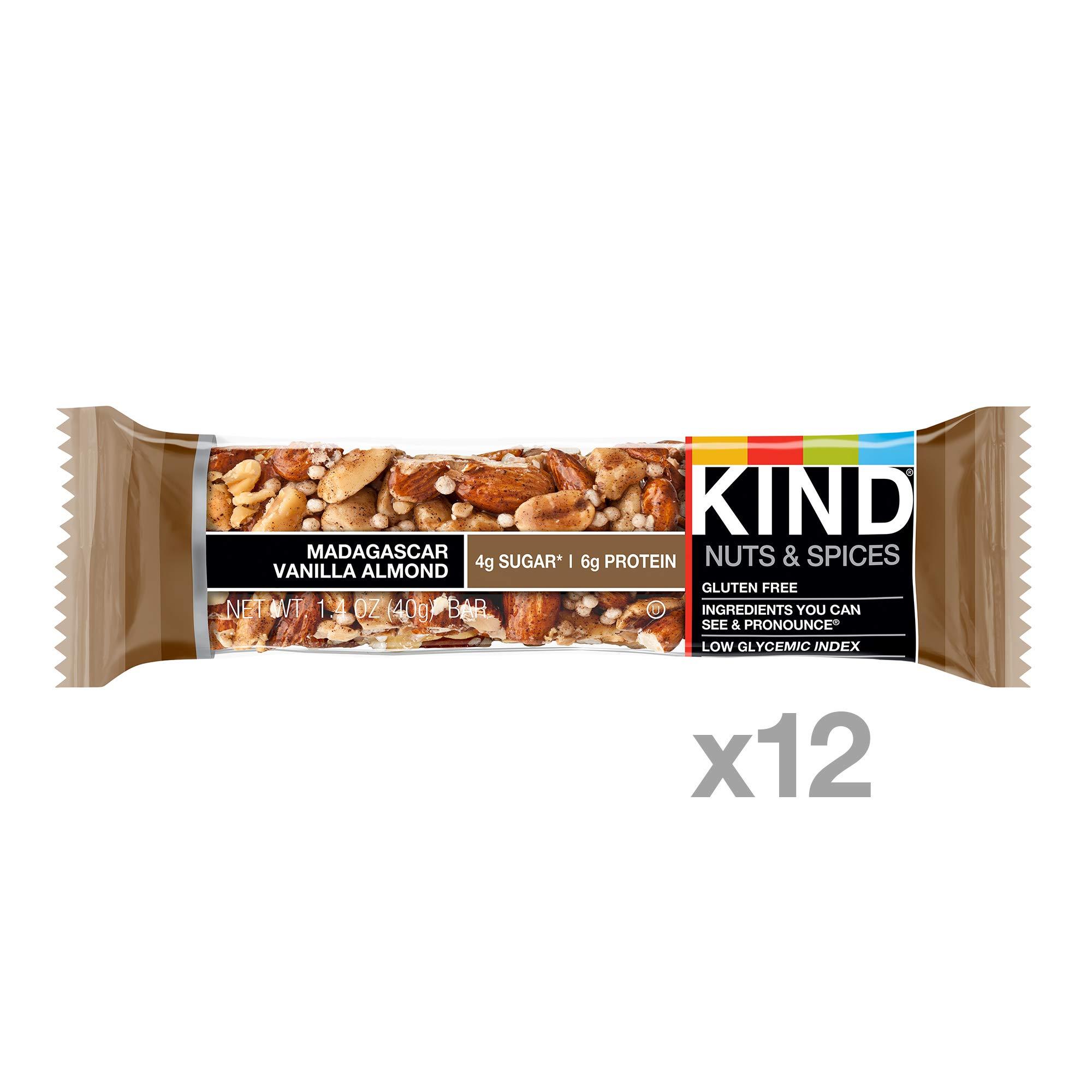 KIND Bars, Madagascar Vanilla Almond, Gluten Free, Low Sugar, 1.4oz, 12 Count by KIND (Image #2)