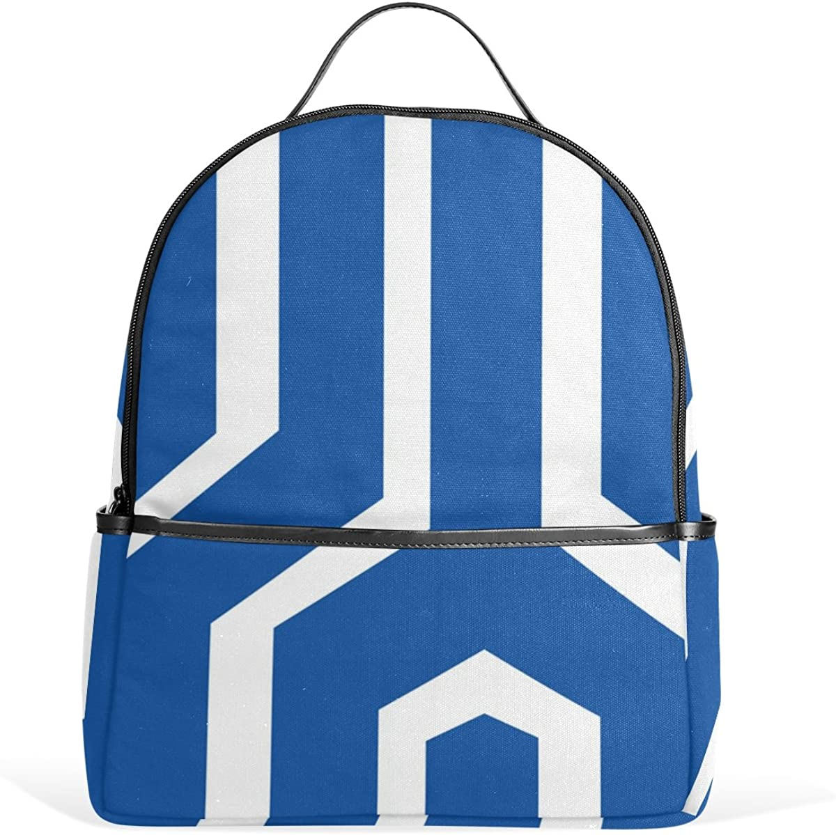 Mr.Weng Blue And White Navy Stripe Printed Canvas Backpack For Girl and Children