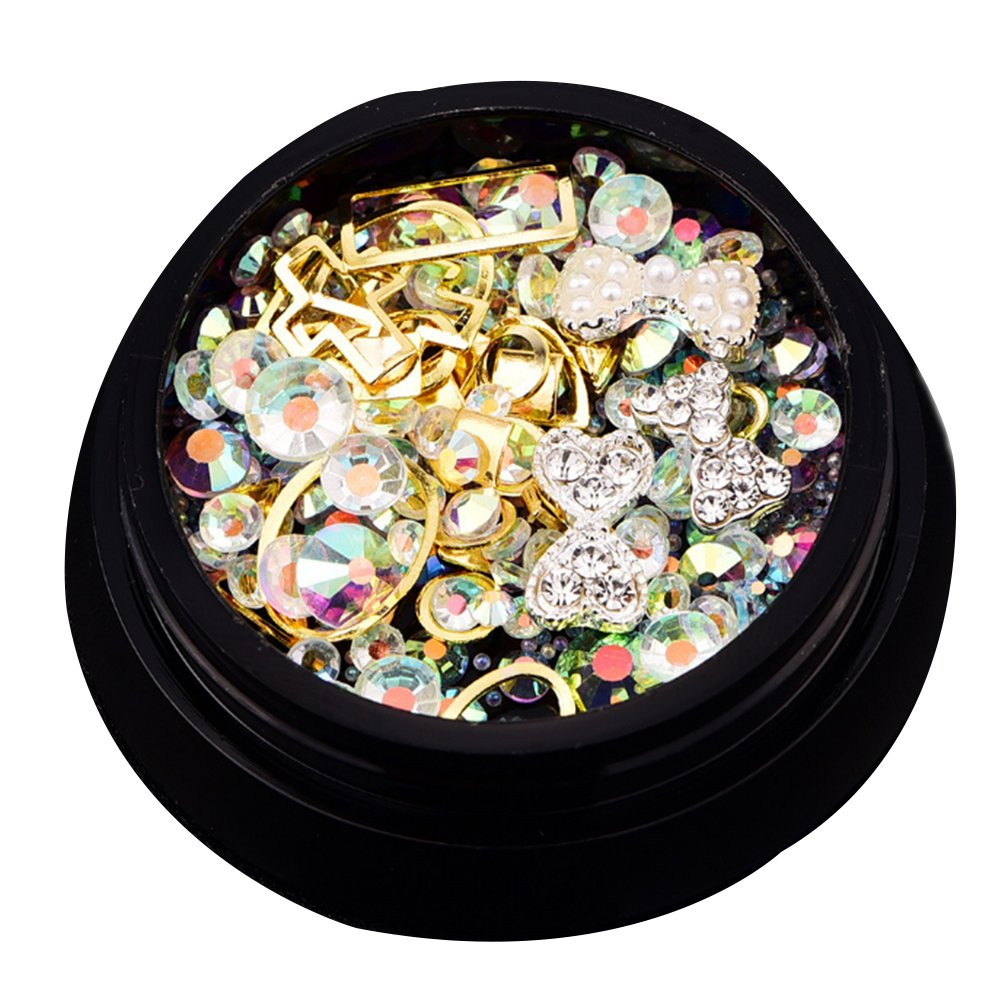 Nail Art Strasssteine, Mixed 3D Nagel Dekoration Kristalle mit flachen und scharfen Ruchen und Strasssteine ??für DIY Nail Art (Gold) NaiCasy