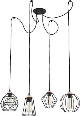 Pendelleuchte Schwarz E27 4 Flammig Drahtgestell Decken Lampe Geometrisch Frame Design Modern Wohnzimmer Hangeleuchte Hangelampe Amazon De Beleuchtung