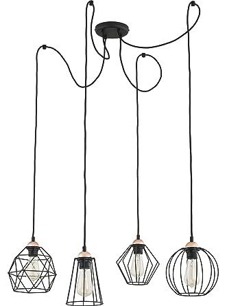 E27 Suspension Ampoules De 4 Noir Métallique Lampe Plafond QtsxordChB