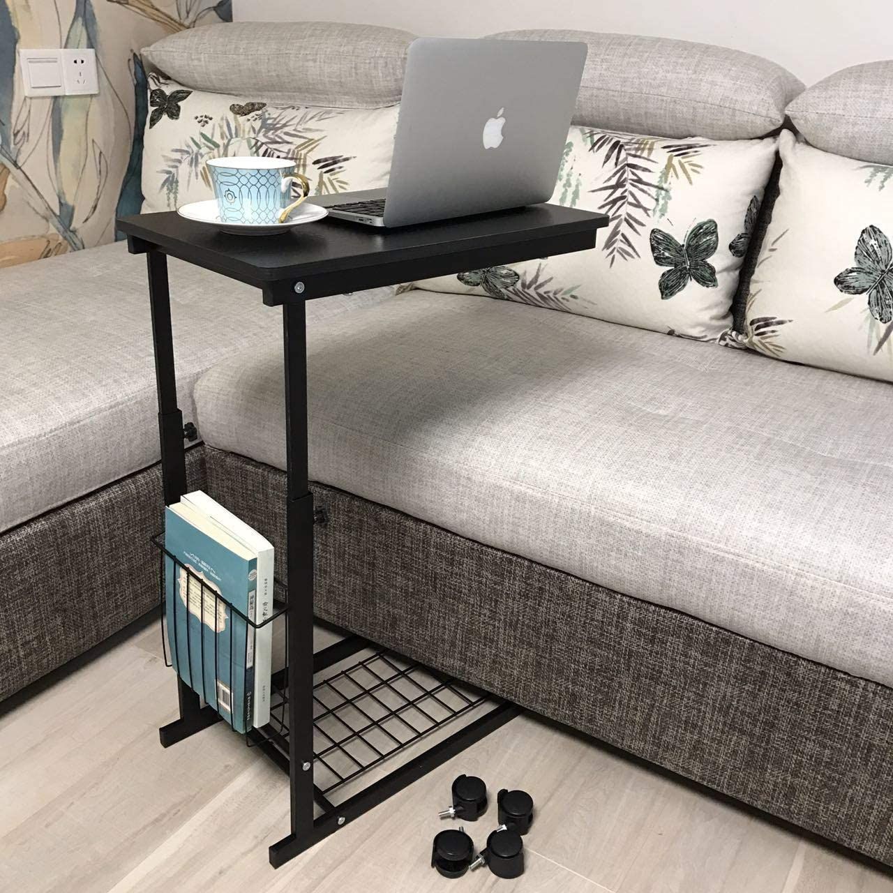 micoe Sofa Side Table with Wheels Couch Table That Slide Under with Storage Shelves C Style Height Adjustable for Home Room Office Black