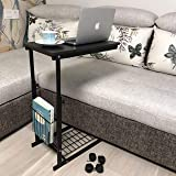 micoe Sofa Side Table with Wheels Couch Table That Slide Under with Storage Shelves C Style Height Adjustable for Home/Room/Office(Black)