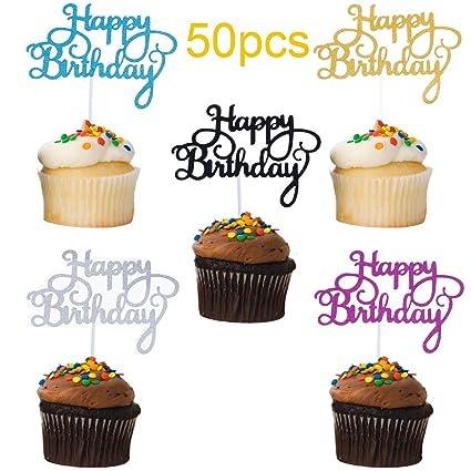 Decoración para tartas de cumpleaños, con purpurina en cinco ...