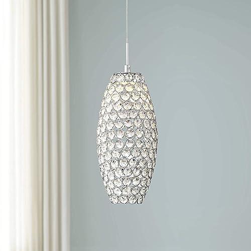 Carlier Chrome Crystal Mini Pendant Light 5 1 4 Wide Modern LED Pine Cone Fixture for Kitchen Island Dining Room – Possini Euro Design