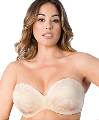 Curvy Couture Womens 1211E Strapless Sensation Multi-Way Bra Push Up Bra