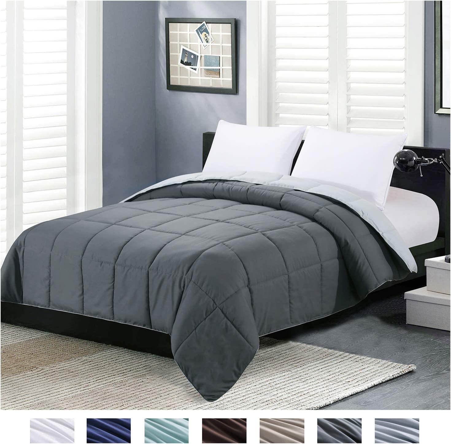 Homelike Moment Reversible Lightweight Comforter - All Season Down Alternative Comforter Twin Summer Duvet Insert Grey Quilted Bed Comforters with Corner Tabs Twin Size Dark Gray/Light Grey