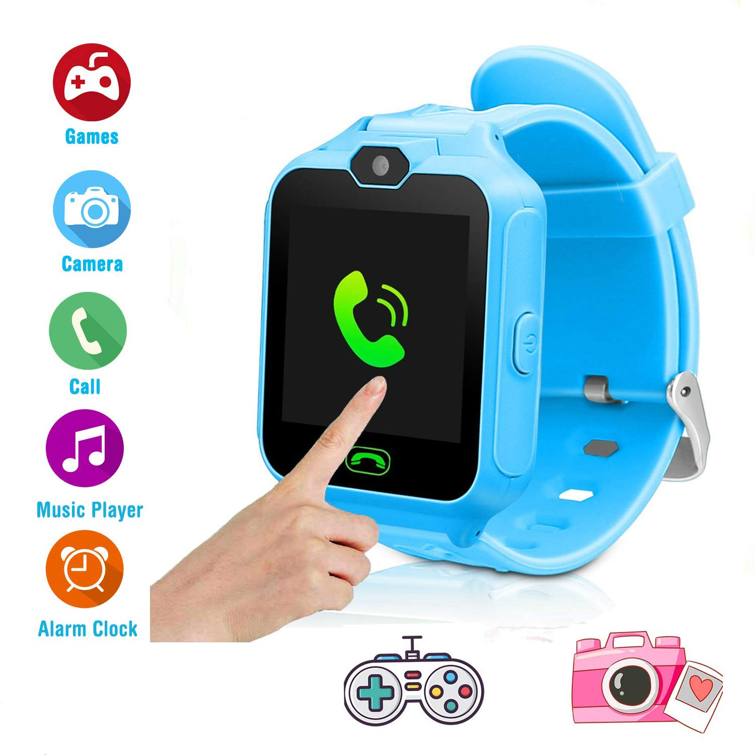 Kids Smartwatch Phone Game Watch Touch Screen for Boys Kids Two-Way Call with Camera Games MP3 Music Player Alarm Clock with SIM and SD Slot Best Birthday Gifts (Blue)