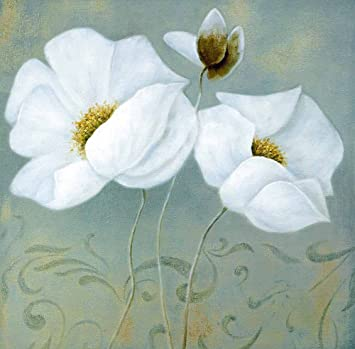 Cuadro Sobre Lienzo Flores Blancas I Pinturas Cuadros Con Flores