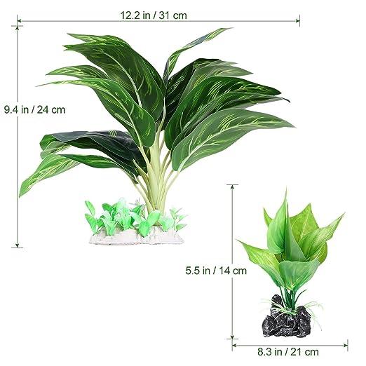 UEETEK 2 Pieza/ Set Plantas de agua para acuarios, Plantas de acuario de plástico frondoso artificial con hojas verdes para la decoración del ornamento del ...