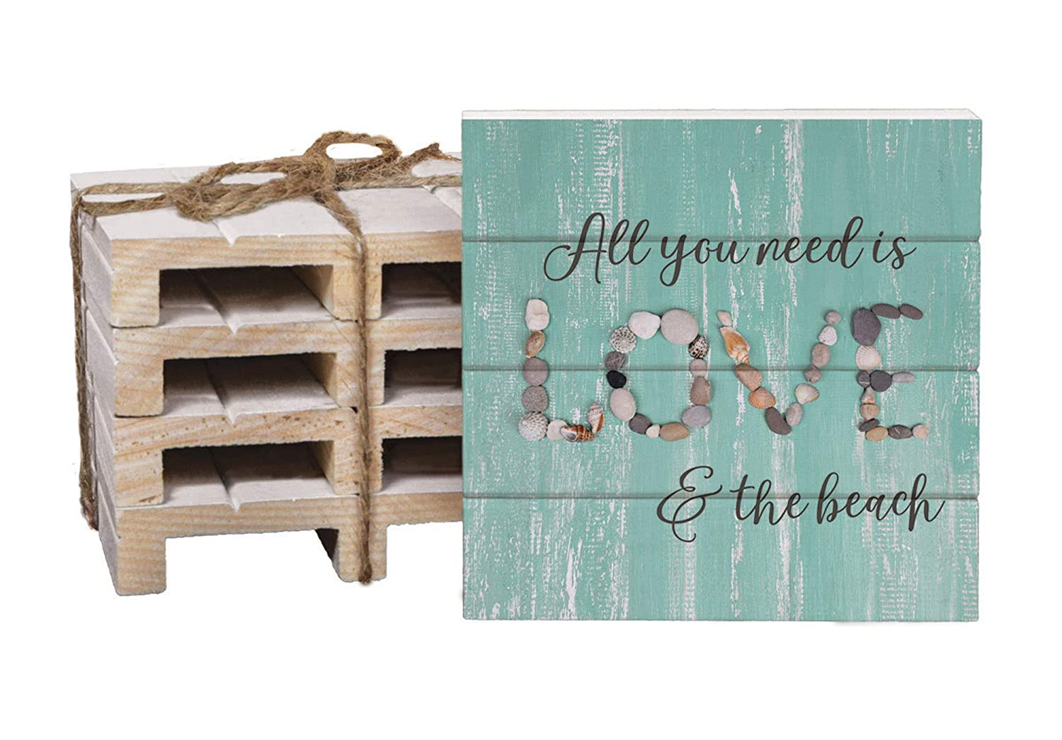 All You Need Is Love /& The Beach 4 x 4 Inch Dried Pine Wood Pallet Coaster Pack of 4