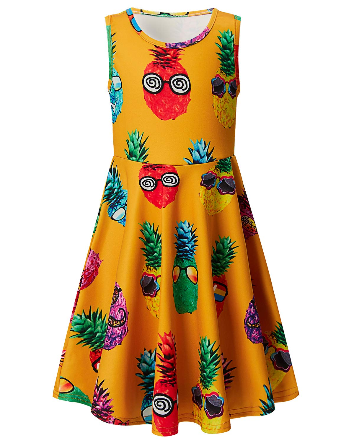 Leapparel Kids Girls Skater Dress Floral Sunglasses Pineapple Print Summer Party Sun Dress XL by Leapparel