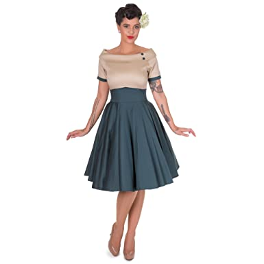 Dolly and Dotty Damen Darlene Rockabilly Kleid, Größe XXL, Farbe Petrol  beige  Amazon.de  Bekleidung a2eec50f5d