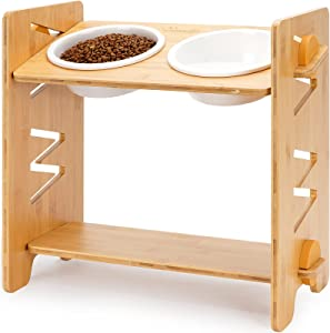WANTRYAPET Elevated Dog Bowls, 8 Heights Adjustable Raised Dog Cat Pet Bowl, Bamboo Elevated Pet Stand Feeder with 2 Unbreakable Melamine Food and Water Bowls Perfect for Small to Large Dog - Patented