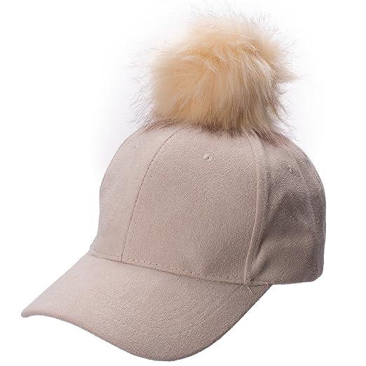895fc1b92cc Lawliet Womens Adjustable Suede Baseball Cap Hip-Hop Hat Faux Fur Pom Pom  A383 (