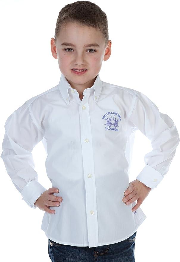 La Martina - Camisa - Manga Larga - para Niño Weiß 4 Años: Amazon.es: Ropa y accesorios