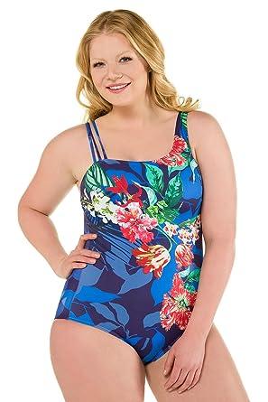 db2d7eca8d29e Ulla Popken Femme Grandes Tailles Femme Maillot de Bain Elégant Amincissant  Monokini Push Up 1 Pièce