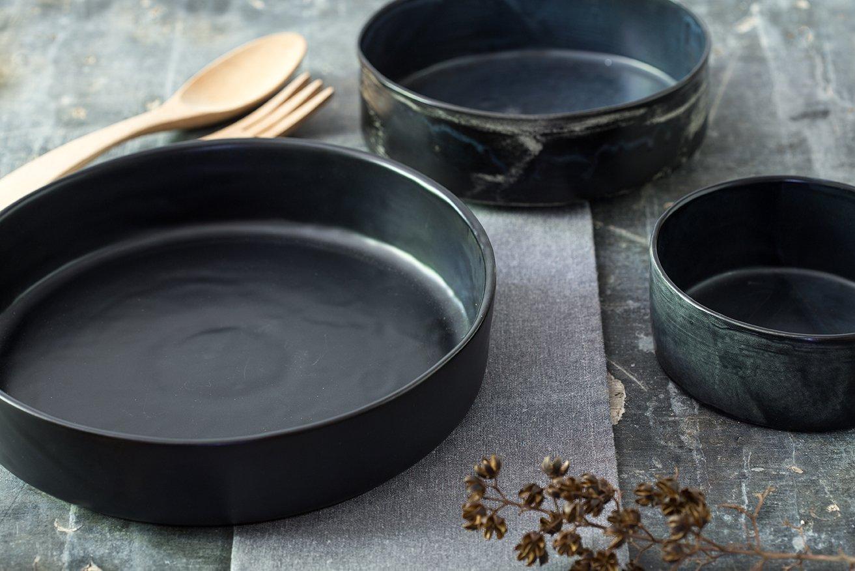 Black Ceramic Bowls Set, Baking Dish Gift