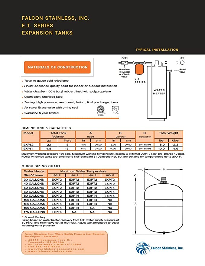 Falcon Stainless EXPT-2 Thermal Potable Water Expansion Tank 2.1 Gal ...