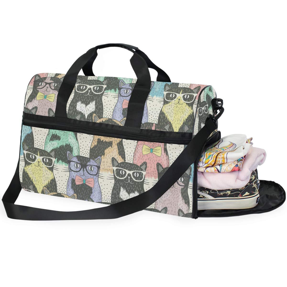 Gym Travel Duffel Bag Cartoon Cat Waterproof Lightweight Luggage bag for Sports Vacation