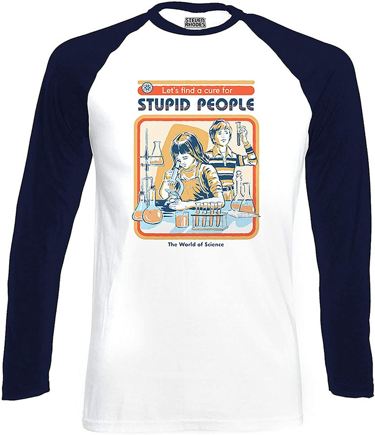 Steven Rhodes Official Lets Find A Cure for Stupid People Navy//White Baseball T-Shirt