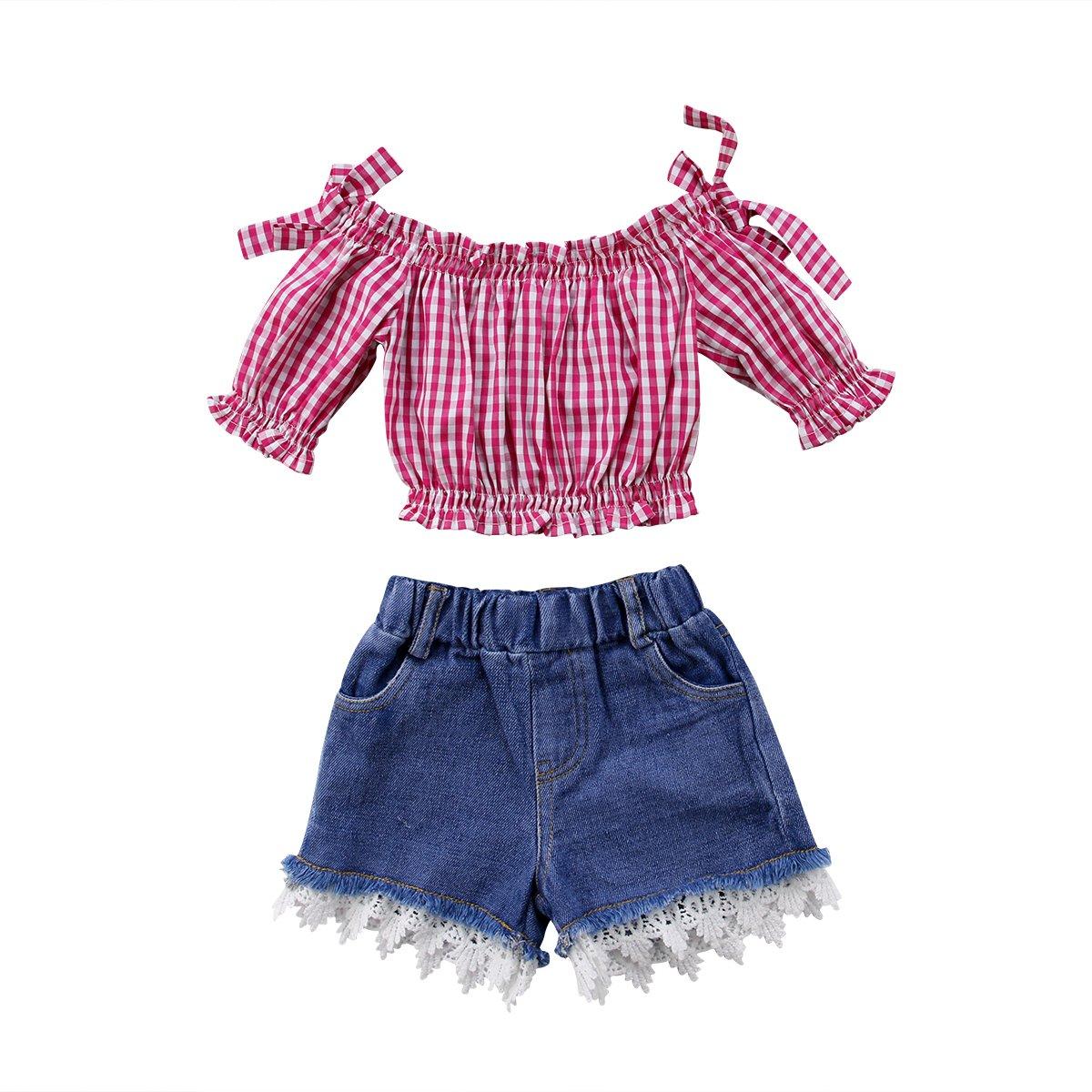 Aliven 2Pcs Set Summer Toddler Kids Girls Plaids Off Shoulder Tops T-Shirt + Lace Denim Shorts Outfits Clothes