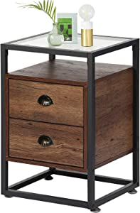 VECELO Modern Side, Nightstand, Tempered Glass End Table, Cabinet with Drawers Shelf, Decoration in Living Room,Bedroom, Rustic Brown