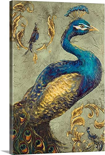 Peacock on Sage I Canvas Wall Art Print
