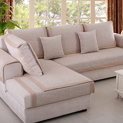 Sofa furniture protector for pet or dog Sofa cover all season Sectional sofa throw cover pad Solid color Thicken cotton and linen slip cover-C ...