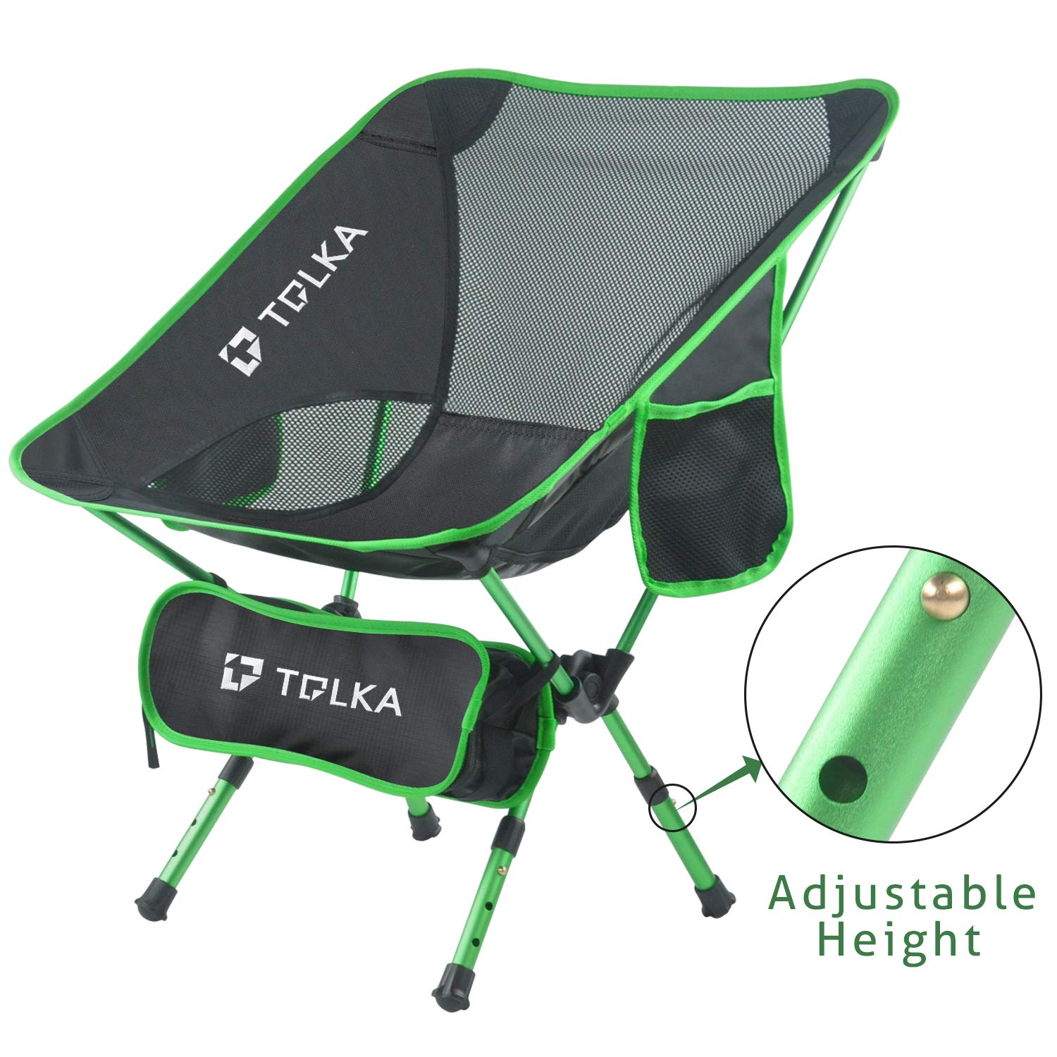Tolka Portable Camping Chair Adjustable Height Lightweight, Compact, Heavy Duty 330lbs Capacity Camping Folding Chairs Backpacking Chair Beach Chairs Lawn Chairs For Camping, Traveling, Beach