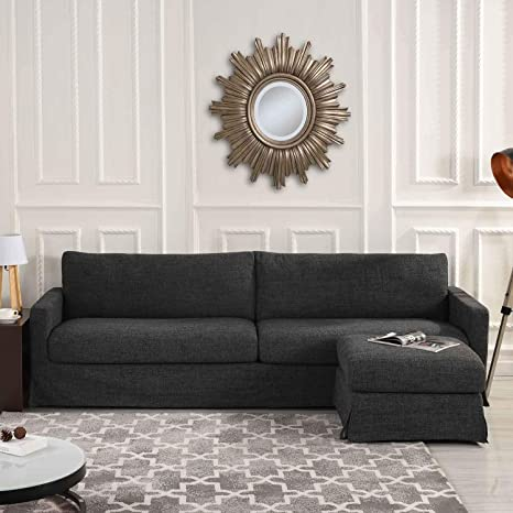 Wondrous Amazon Com Grey Woven Linen Slipcover Sectional Sofa Couch Andrewgaddart Wooden Chair Designs For Living Room Andrewgaddartcom