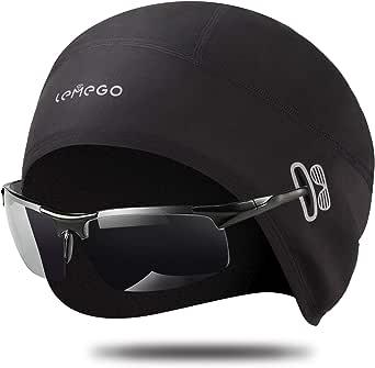 LEMEGO Gorro Ciclismo, Forro Polar de Invierno Gorro Bajo Casco con Tapas de Orejas y Agujero de Gafas, Térmico, A Prueba de Viento Gorro Invierno, Apto para Moto, Esquí, Correr (Negro)