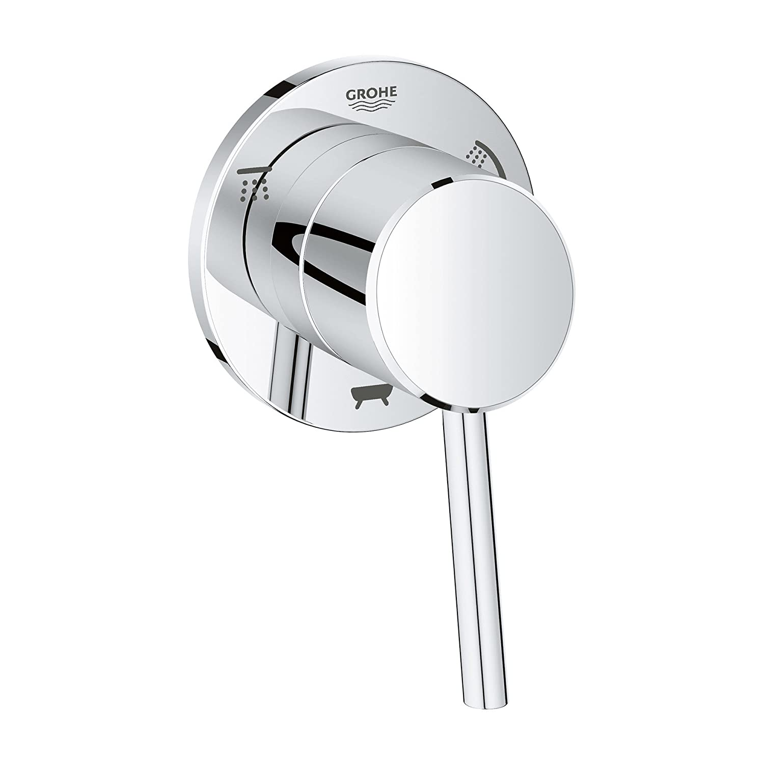 GROHE 29106001 Concetto 1-Handle 3-Way Diverter Valve Only Trim Kit In Starlight Chrome (Valve Sold Separately)