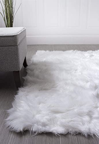 Super Area Rugs Soft Faux Fur Sheepskin Flokati Shag Silky Rug Baby Nursery Childrens Room Rug in White, 5 x 7