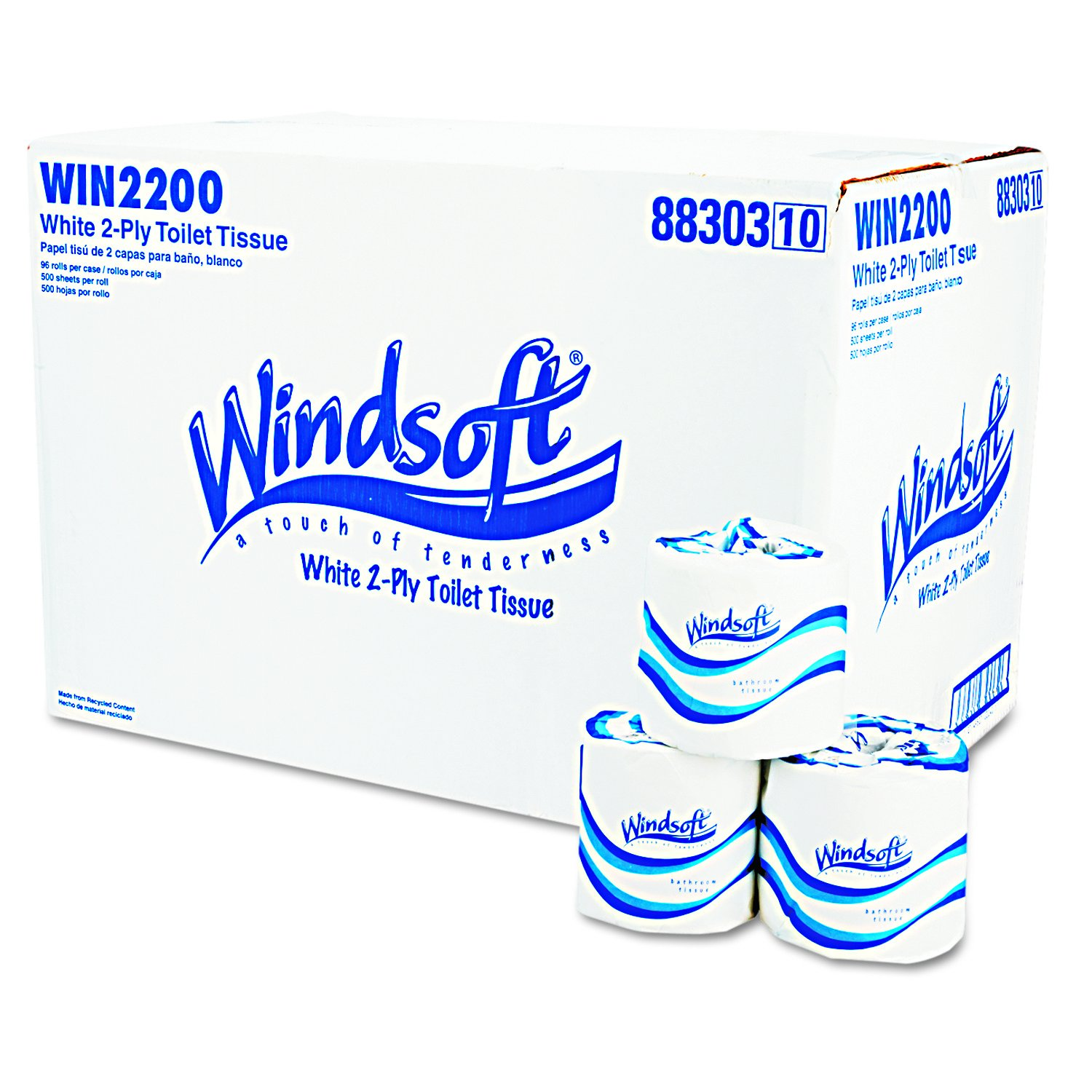 Amazon.com: Windsoft 2200 Single Roll Two Ply Premium Bath Tissue, 500 Sheets Per Roll (Case of 96 Rolls): Industrial & Scientific