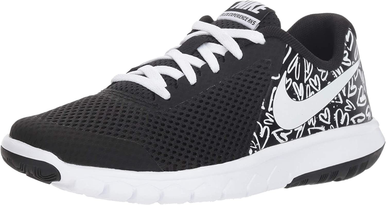 New Nike Girl s Flex Experience 5 Print Athletic Shoe Black White 5