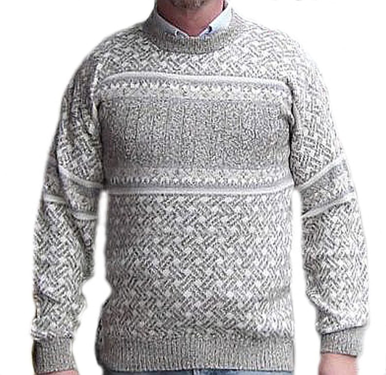 Alpacaandmore Hellgrauer Herren Pullover Strickpullover Schneeflocken Muster peruanische Alpakawolle Rundhals
