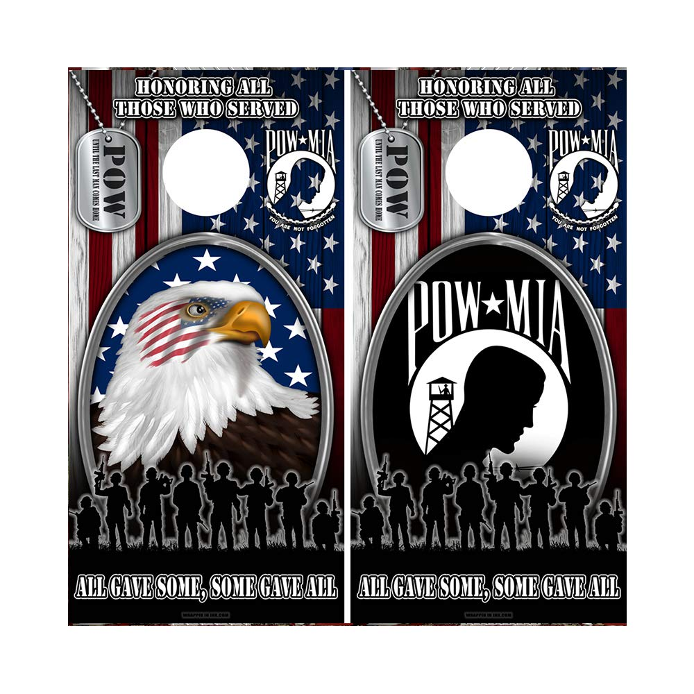 Decals N Designs Honoring All Those Who Served Eagle 1 with Tags & POW with Tags American Flag Laminated Combo Cornhole Board Wraps ~ Set of 2 by Decals N Designs