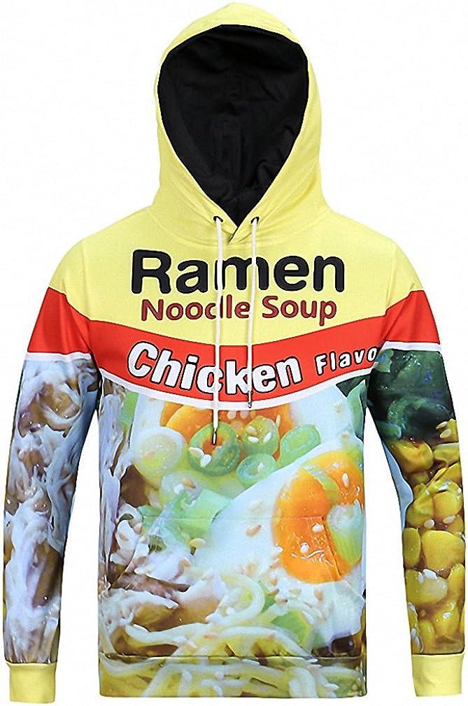 Europe And America 3D Print Raman Noodle Soup Hoodies Plus Size Top Sweatshirt