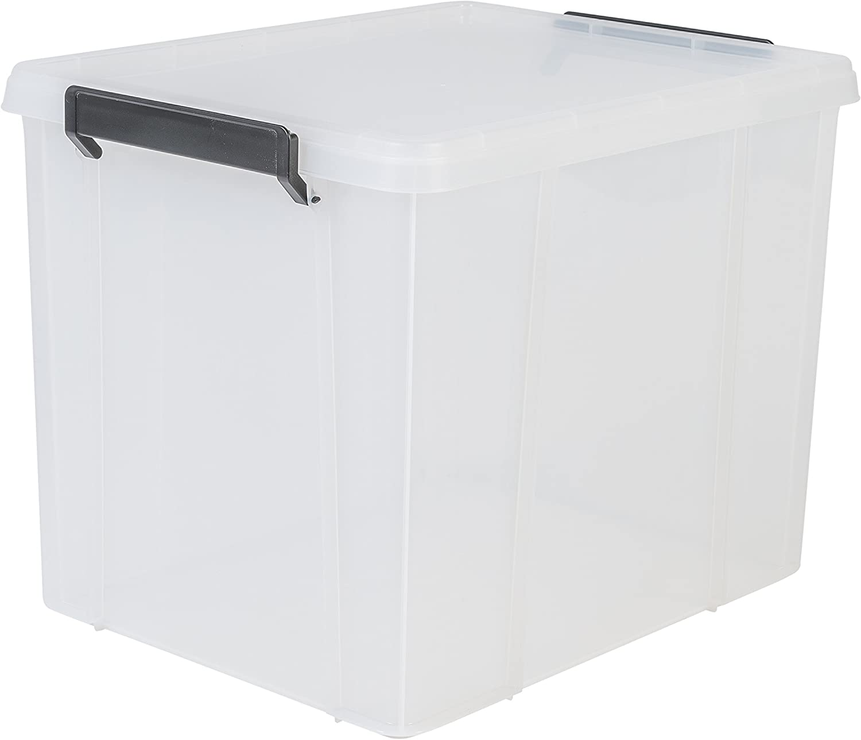 Iris Ohyama, caja apilable de almacenamiento con tapa - Multi Box - MBX-38, plástico, transparente, 38 L, 45,3 x 34,8 x 34,3 cm: Amazon.es: Hogar
